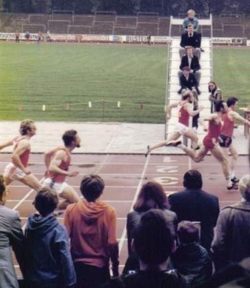 Zieleinlauf 100 m DAMM 1978 in Dortmund: 1. Dieter Stockmann (ART) vor Hermann Latzel (USC Thier Dortmund), 4. Manfred Arians (ART)