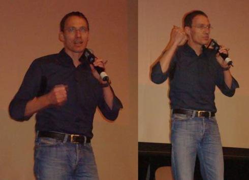 Dieter Baumann bei seinem temperamentvollen und engagierten Vortrag.