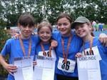 Die ART-Mädchen errangen den 3. Platz in der 4x75m Staffel  v.li.: Gillian Robb, Hannah Schäfer, Bibiane Leufgen und Berit Vander