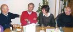 Erstmals beim Stammtisch Fördervereinsmitglied Jürgen Kapplinghaus (im roten Pullover / mehrfacher Kreisrekordinhaber im Speerwerfen) mit Ehefrau Irene
